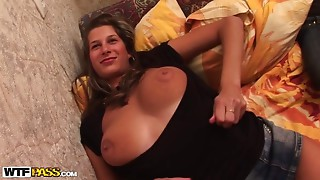 Big-breasted hooker is realizing her lustful dreams
