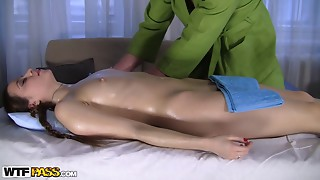 Sweet and oiled babe is enjoying fucking with a masseur