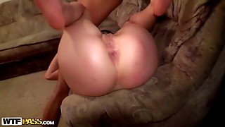 Face-fucked slender babe with big butt is asking for more