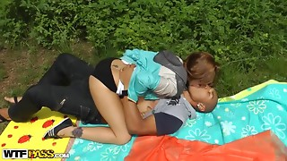 Perverted outdoor anal sex with the most lustful college girls