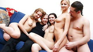Lustful bitch with big boobs is getting in her first orgy