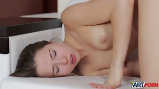 Seduced slender 18 years old gives a blowjob on the knees