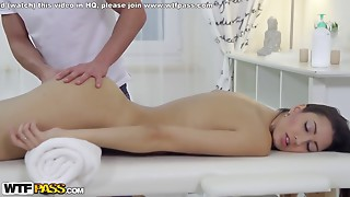 Very tall hot brunette fucks her masseur well