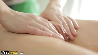Perfect vaginal massage for an angelic 18 years old beauty
